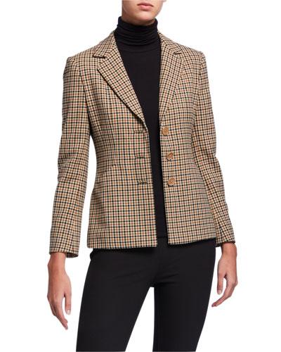 Alexina Three-Button Check Jacket