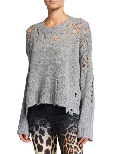 Shredded Side-Slit Cashmere Sweater