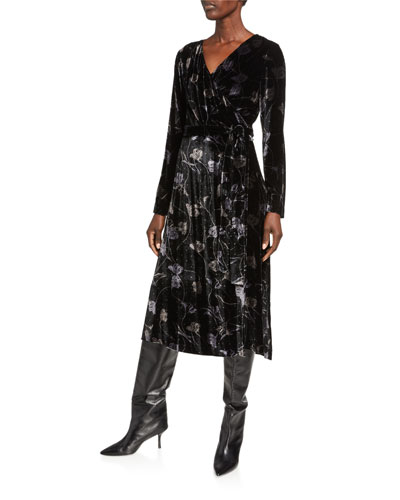 Tilla Collared Floral-Print Wrap Dress