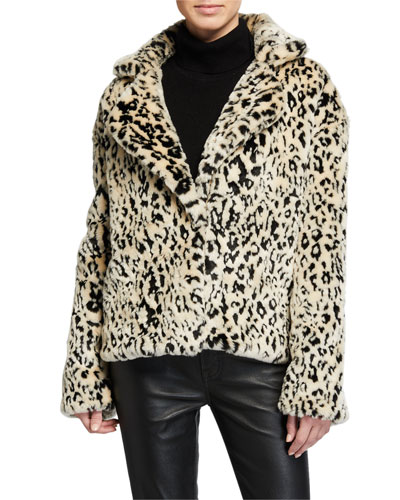 Jordan Leopard-Print Faux-Fur Coat