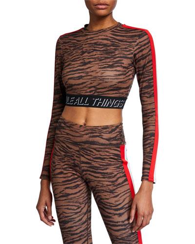 Long-Sleeve Tiger Crop Top