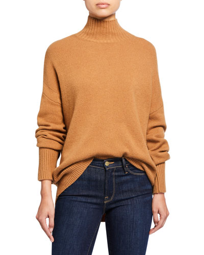 High-Low Sustainable Cashmere Turtleneck Sweater