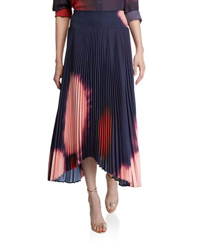 Sonali Pleated Tie-Dye Asymmetric Skirt