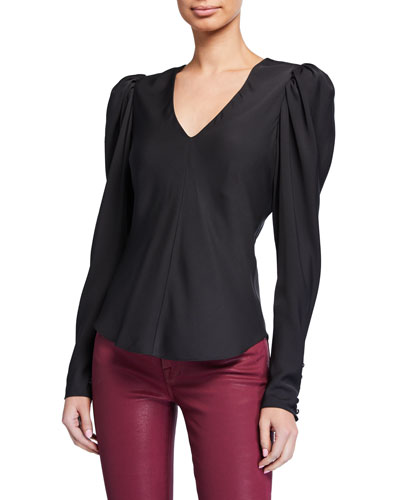 Shirred Puff-Sleeve V-Neck Top