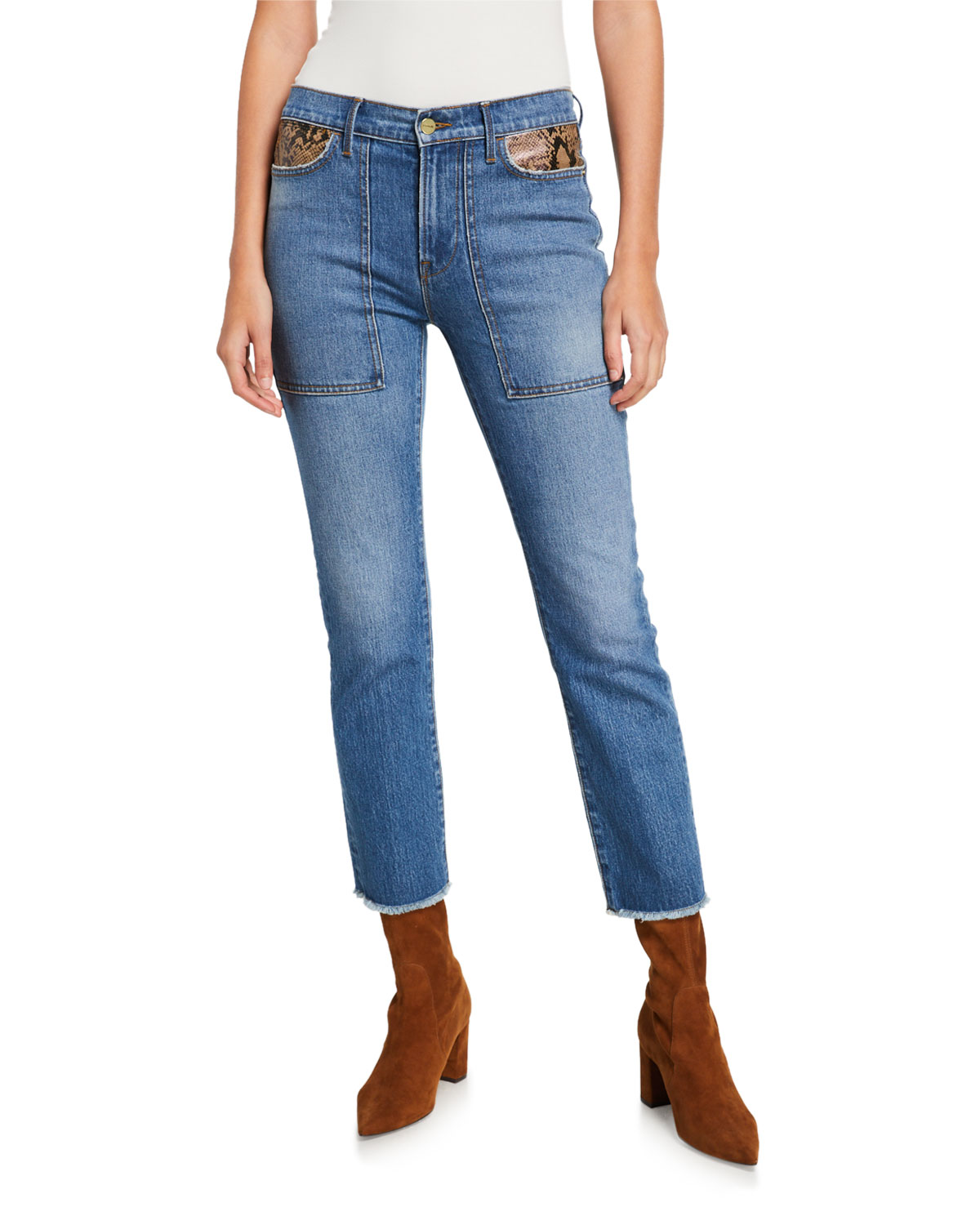 Frame Jeans LE HIGH STRAIGHT ANKLE JEANS WITH PYTHON PATCHWORK