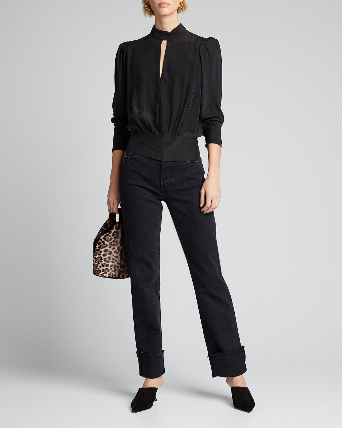 Frame Tops LUXE KEYHOLE-FRONT LONG-SLEEVE TOP
