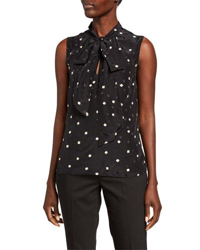 Printed Tie-Scarf Sleeveless Silk Top