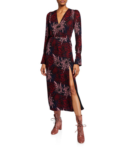 Bailey Long-Sleeve Printed Midi Dress