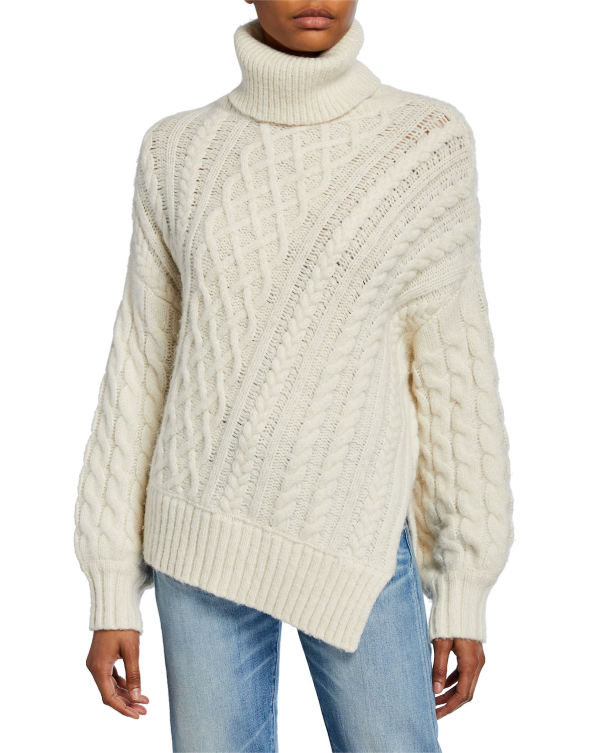 A.l.c Knits NEVELSON ASYMMETRIC CABLE-KNIT SWEATER