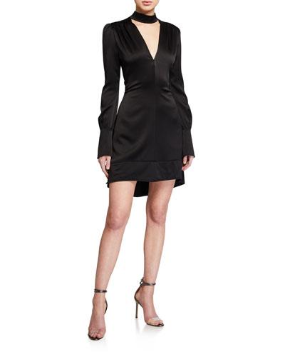 Garrison Satin Mock-Neck Cocktail Dress