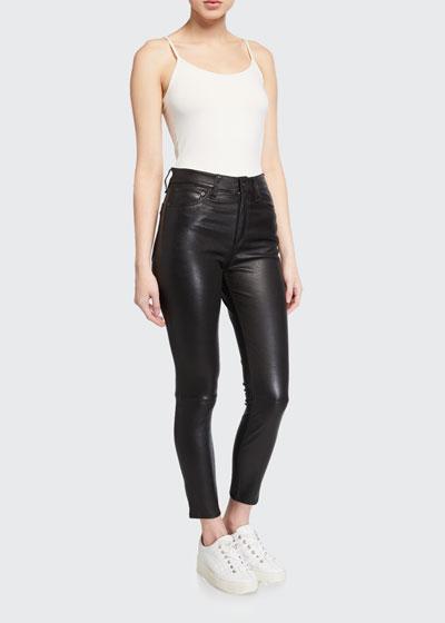 Nina Leather High-Rise Pants