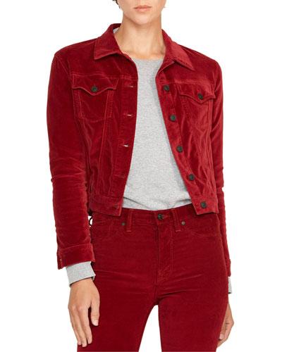 Classic Fitted Velvet Trucker Jacket