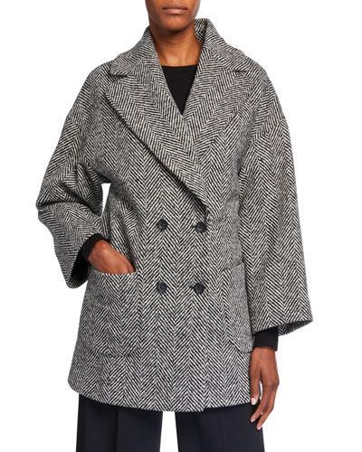 Macro Wool Chevron Double-Breasted Coat