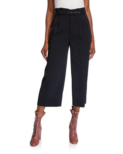 Frisottine Wide-Leg Belted Crop Pants