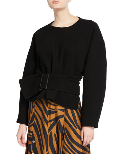 Long-Sleeve Pullover with Belt