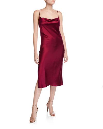 Cowl-Neck Slip Dress with Slit