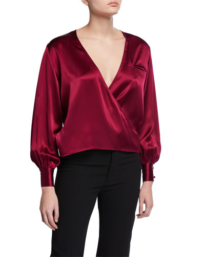 Silk Long-Sleeve Wrap Blouse