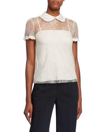 Floral Lace Point D'Esprit & Crepe De Chine Short-Sleeve Top