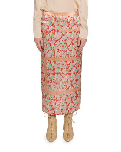 Mina Ruched-Back Polka Dot Midi Skirt