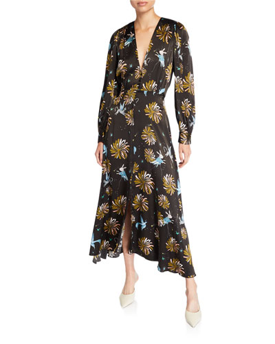 Floral-Print Silk Satin Dress