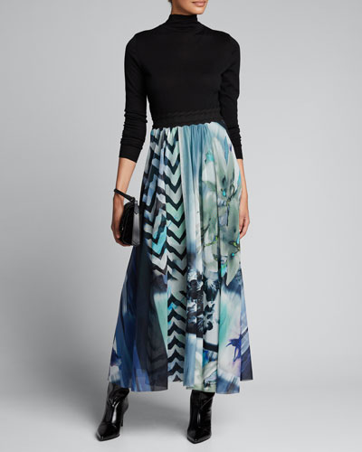 Printed Scallop Waist Maxi Skirt