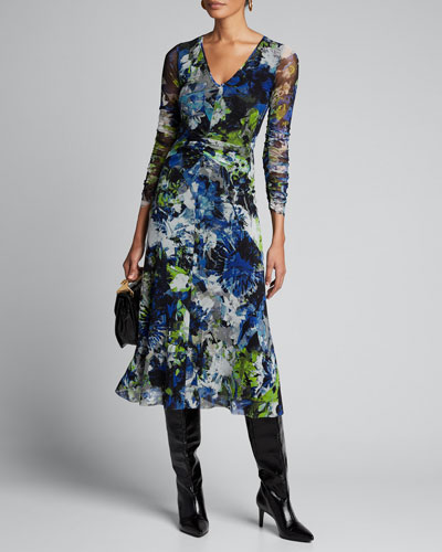 Floral V-Neck Long-Sleeve Shirred Front Midi Dress