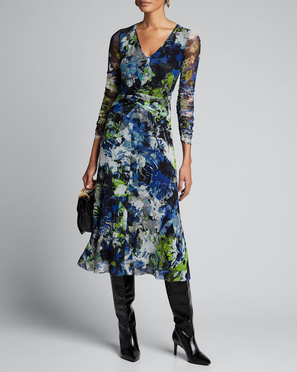 Fuzzi Dresses FLORAL V-NECK LONG-SLEEVE SHIRRED FRONT MIDI DRESS