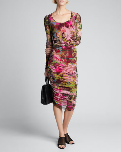 Floral Long-Sleeve Shirred Dress