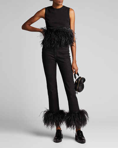 Straight-Leg Ankle Jeans w/ Ostrich Feathers