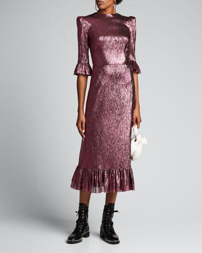The Falconetti Metallic 3/4-Sleeve Cocktail Dress