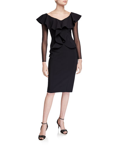 V-Neck Sheer Sleeve Ruffle Front Knee-Length Dress
