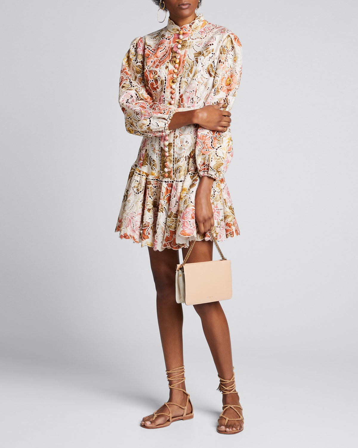 Zimmermann Dresses BONITA EMBROIDERED FLORAL SHORT DRESS