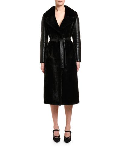 Mink-Front Belted Sheepskin Coat