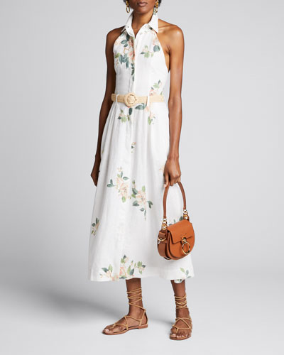 Kirra Collared Floral Belted Halter Dress