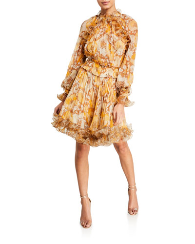 Super Eight Floral-Print Ruffle Dress