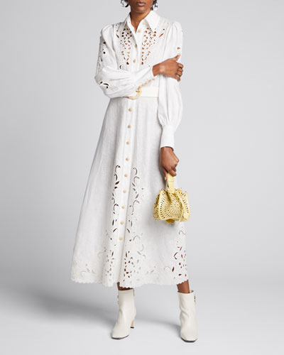 Peggy Embroidered Belted Long Dress
