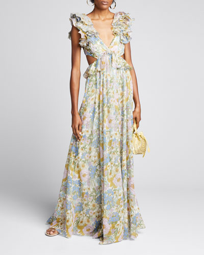 Super Eight Floral Ruffle Gown
