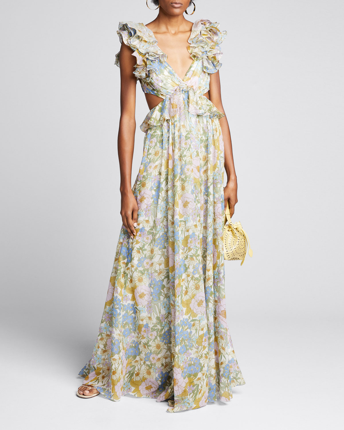 Zimmermann Tops SUPER EIGHT FLORAL RUFFLE GOWN