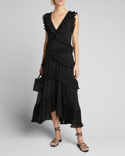 Pleated Frill Midi Dress