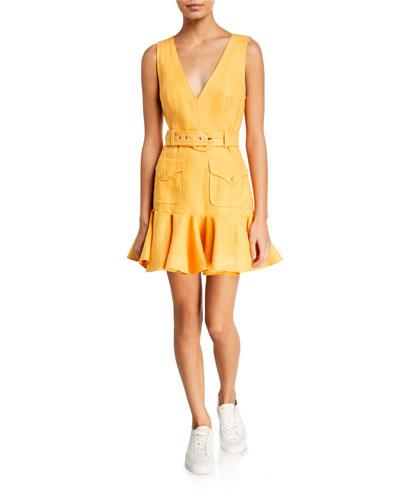 Super Eight Safari V-Neck Sleeveless Mini Dress