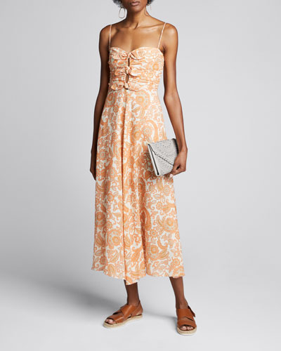 Peggy Printed Tie-Front Dress