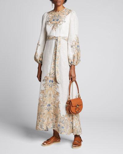 Freja Belted Paisley Long Dress