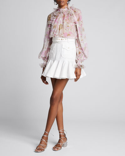 Super Eight Ruffled Floral Long-Sleeve Blouse