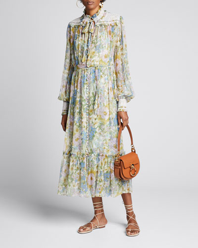 Super Eight Floral-Print Smocked Midi Dress