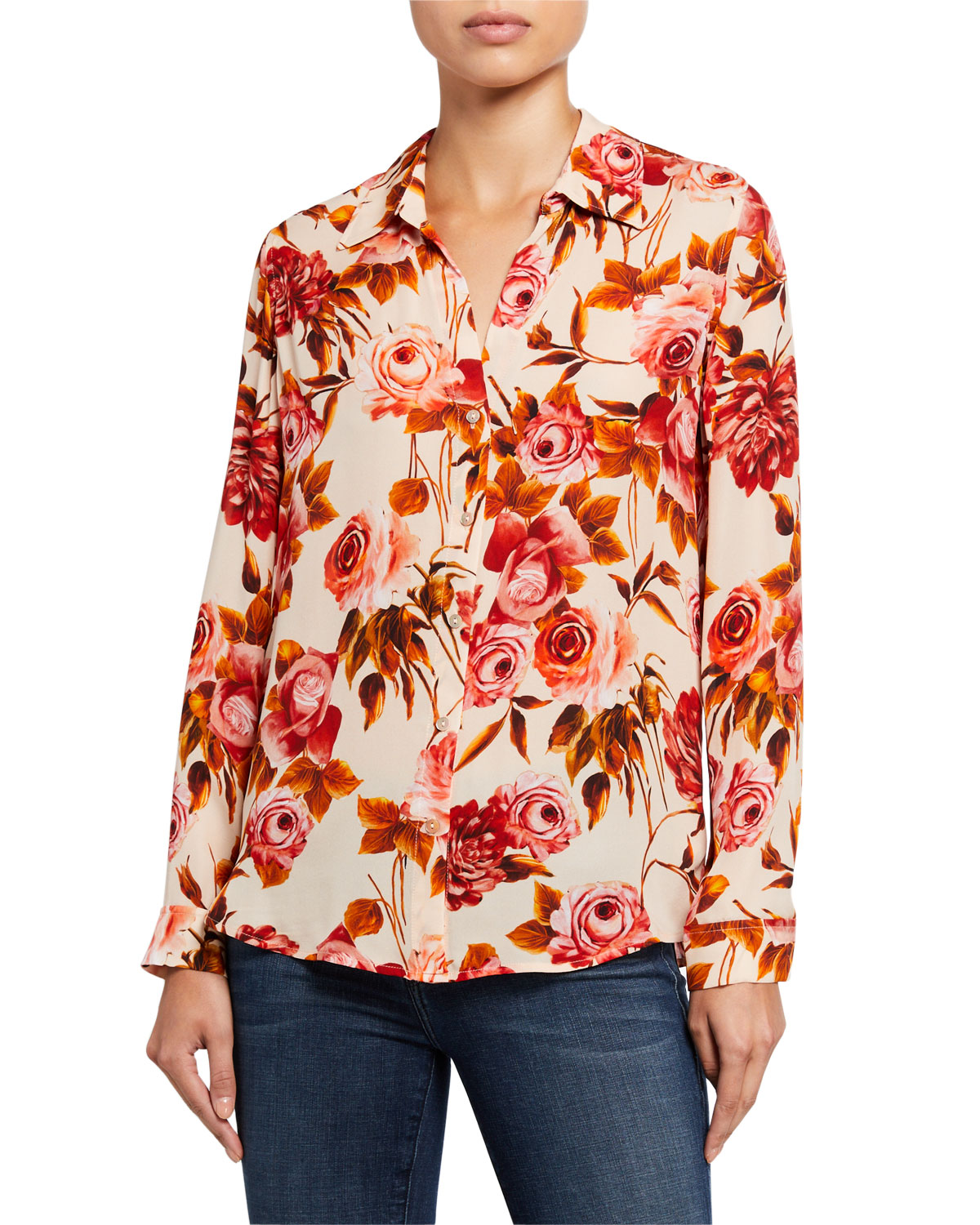 L'agence Tops NINA LONG-SLEEVE ROSE-PRINT BLOUSE