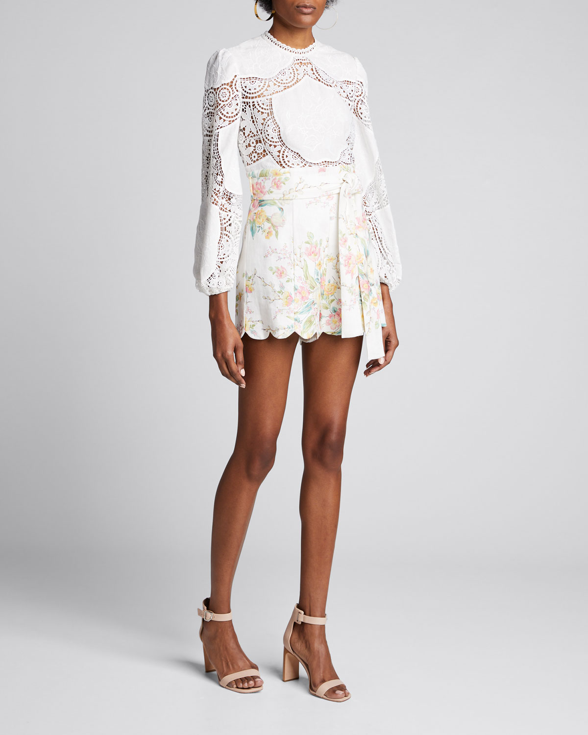Zimmermann Tops BONITA CROCHET EMBROIDERED LONG-SLEEVE TOP