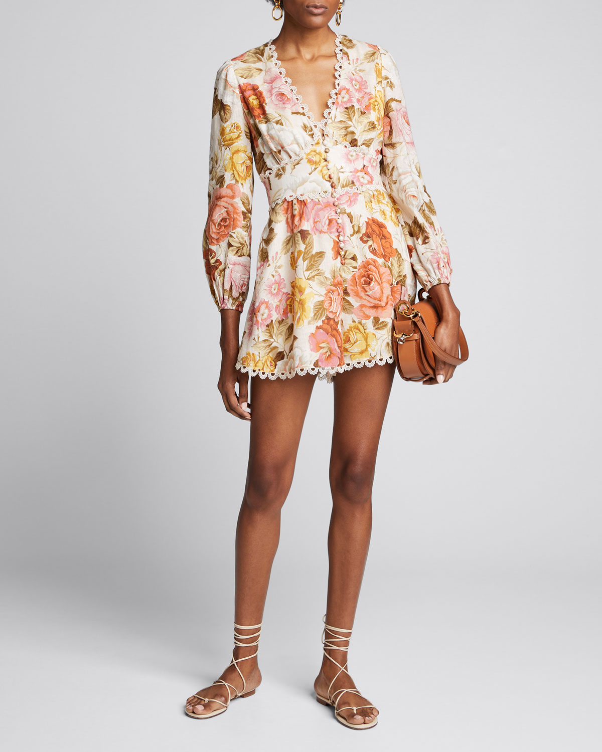Zimmermann Tops BONITA BUTTON-DOWN FLORAL ROMPER