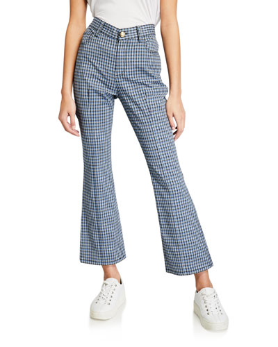 Cropped Mouline Check Flare Jean Trousers