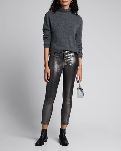 Debbie Coated Metallic High-Rise Skinny Jeans