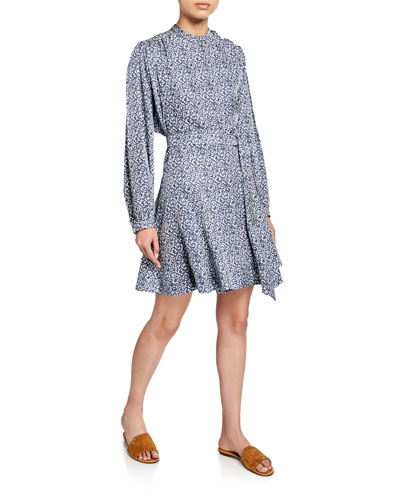 Long-Sleeve Printed Godet-Insert Dress